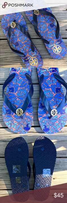 NEW! Tory Burch Flipflops NWT! Time to show off that pedi with these adorable brand new Tory Burch Flipflops. Super cute poppy, navy & light blue pattern with a light gold-tone hardware. Tory Burch Shoes Sandals