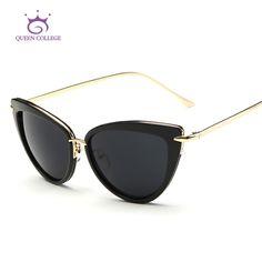 Queen College Women's Sunglasses Cat Eye Style Alloy Temple Coating Mirror Lens Retro Sun Glasses Brand Design UV400 QC0269