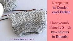 Netzpatent in Runden zwei Farben - Honeycomb Brioche Stitch in Rounds two colours