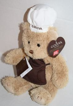 39421ed3b35 Gund stuffed animal bear tan plush Godiva chef hat brown apron w  tags 8