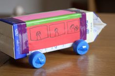 milk carton bus with working wheels
