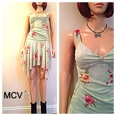 10.00 OFF Vintage 90s mint floral sun dress by MainCourseVintage