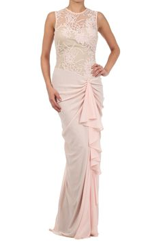 Duo Fabric Full Length Dress With Round Neck And Ruffle Detail