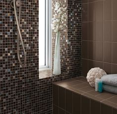 Crossville Porcelain Tile - Color By Numbers Carbon - 14 Mosaic Bathroom, Mosaic Wall Tiles, Wall And Floor Tiles, Mosaic Glass, Glass Tiles, Crossville Tile, Mosaic Tile Designs, Bathroom Renos, Bathroom Ideas