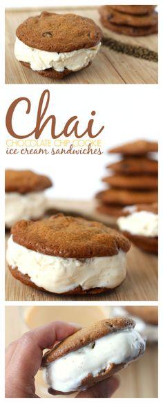 Chai Chocolate Chip Cookie Ice Cream Sandwiches