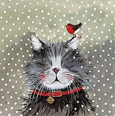 Christmas Cat Tea Towel by Alex Clark Art. Klaus - Made from cotton and gorgeousness. Perfect festive gifts for cat lovers at Tattypuss. I Love Cats, Crazy Cats, Cool Cats, Clark Art, Cat Cards, Mundo Animal, Christmas Paintings, Cat Drawing, Christmas Cats