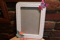White picture frame, Upcycle picture frame, Porcelain picture frame, glass picture frame, flower picture frame, Butterfly frame, desk decor by Morethebuckles on Etsy