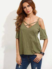 T-shirt épaule découpée - vert kaki