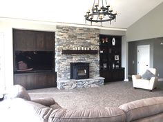 Stone Work, Pellet Stove, Built Ins, Mantel with Lights