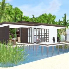Modern Beach House by stevesuzz - The Exchange - Community - The Sims 3 Sims 3 Pc, Sims 3 Generations, Sims 3 Games, Sims Pets, Massage Table, Dj Booth, University Life, Purchase History, Sitting Area