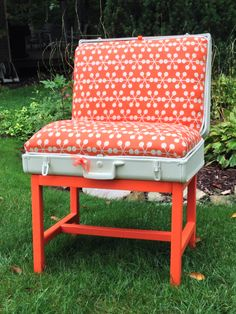 Vintage painted suitcase chair.