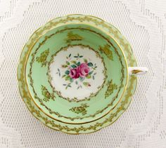 Vintage Green and Gold Tea Cup and Saucer with Pink Roses by Grosvenor, English Bone China, Teacup and Saucer