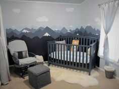 Baby Nursery Mountain Theme – The Crafty Nurse - Mountain nursery theme, Baby Bedroom, Baby Boy Rooms, Baby Boy Nurseries, Nursery Room, Babies Nursery, Baby Girls, Room Baby, Baby Baby, Baby Room Themes