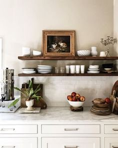 I am so tired of seeing my kitchen look pretty much the same lately. But we use everything on these shelves and it works for us. Minimal Kitchen, New Kitchen, Kitchen Dining, Kitchen Decor, Minimal Decor, Farmhouse Style Kitchen, Beautiful Kitchens, Home Kitchens, Kitchen Remodel