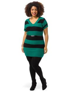 Plus Size EXTRA TOUCH Short Sleeve Striped Sweater In Emerald & Royal