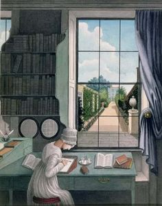 Thomas Pole: In the Library, St James's Square, Bristol c.1805.