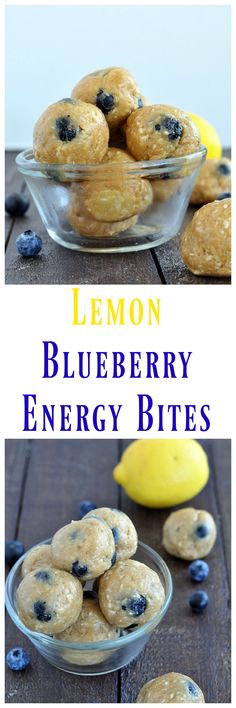 Just a handful of simple ingredients to make these Lemon Blueberry Energy Bites. Just a handful of simple ingredients to make these Lemon Blueberry Energy Bites. No baking required. Perfect to fuel your day. Protein Muffins, Protein Bites, Protein Snacks, Energy Snacks, Energy Bites, Healthy Sweets, Healthy Snacks, Healthy Breakfasts, Whole Food Recipes