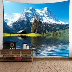 Waterproof Snow Mountains Lake Cottage Hanging Tapestry - GREEN W79 INCH * L59 INCH