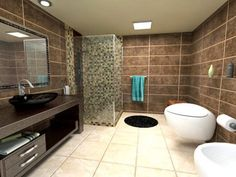 Brown tile bathroom wall designPure  Rough  Authentic  The Duravit Stonetto shower tray made of  . Brown Tile Bathroom. Home Design Ideas