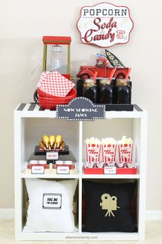 See our list of Vintage Movie Night Essentials and our DIY Concession Stand using a standard 4-cube Kallax organizer (IKEA Hack).