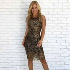 Carpe Diem Crochet Dress in Gold New Year's Eve 2019, Boutique Clothing, Clothing Boutiques, Gold And Black Dress, Holiday Party Dresses, Girls Night Out, Carpe Diem, Bodycon Dress, Formal Dresses