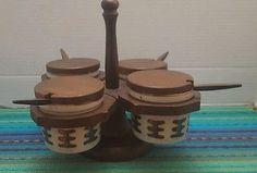 Vintage Gail Craft Woodenware RelishCondiment Lazy Susan Server w Stoneware Jars
