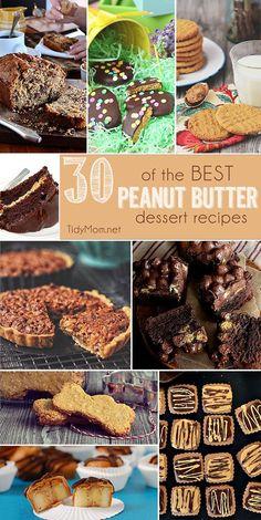 30 of the BEST Peanut Butter Dessert Recipes! Peanut Butter Dessert Recipes, Best Peanut Butter, No Bake Desserts, Just Desserts, Yummy Treats, Sweet Treats, Yummy Food, Bbq, How Sweet Eats
