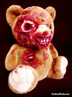 """""""Undead Teds"""", or horrible zombies teddy bears imagined and handmade by British Phillip Blackman."""