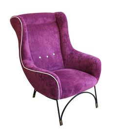 Single armchair with metal legs Reupholstered in purple and white fabric Origin: Italian Period: Reference: