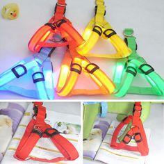 1x LED Glow Flash Dog Belt Harness Leash Tether Pet Light-up Safety Collar GSV