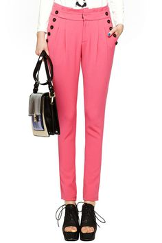 #ROMWE Buttoned Pleated Rose Pencil Pants