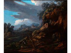 HAGAR UND DER ENGEL Öl auf Leinwand. 130 x 150 cm. Salvator Rosa war ein großartiger Maler von Fantasielandschaften mit ganz besonderer Atmosphäre und...