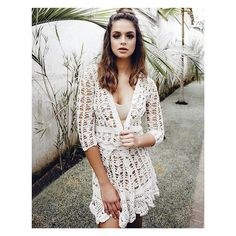 Free Crochet Clothes Idea- Crochet Dresses, Trousers And Casual Dresses 2019 - Page 13 of 41 - eeasyknitting. Crochet Dress Girl, Crochet Coat, Crochet Jacket, Crochet Cardigan, Crochet Clothes, Crochet Dresses, Dress Patterns, Crochet Patterns, Dress Trousers