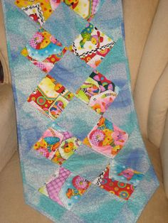 Kitty  Cat  Table Runner Blue Aqua Yellow by DesignsbyJuliAnn, $34.95