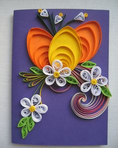 Handmade Easter Greeting Card - Paper Quilled Card -Happy Easter Card - Quilling Egg, Flowers