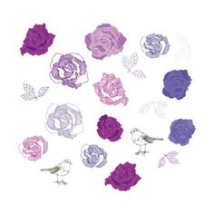Purple rose wall decals
