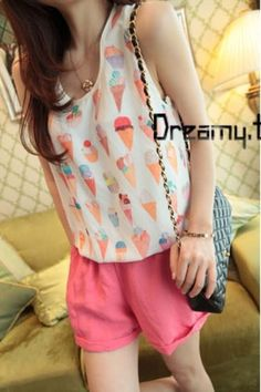 HQ 2182 Ice Cream Blouse  Weight : 0,23 kg Price : Rp. 63.000 Product Origin : China High Quality Fabric chiffon (not elastic) Bust 88 Shoulder 38 Length 67