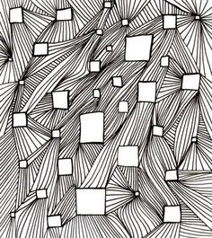 maybe string art?variation of line op art lesson, glue squares of op art drawings onto paper with this background Zentangle Drawings, Doodles Zentangles, Art Drawings, Doodle Patterns, Zentangle Patterns, Op Art Lessons, Schrift Design, Tangle Art, Dark Gothic