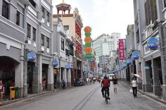 Shangxiajiu Pedestrian Street in Liwan District, Guangzhou, is one of the busiest commercial pedestrian streets in China. Located in the old town of Xiguan, the 1,218-meter-long street is lined with more than 300 shops. The street is also a mixed showcase of architecture, cuisine and folk customs. Its architecture features the characteristics of south European and Cantonese style, being both functional and aesthetically pleasing