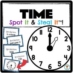"""Students will learn how to tell time to the hour and half hour in a FUN and INTERACTIVE way. Don't use boring worksheets! Make learning enjoyable by using games instead! My Spot It and Steal It games keep all players engaged 100% of the time. Once a card is read, all players are on the look-out to see who has the corresponding """"picture card""""... if you SPOT it... you can STEAL it! The player with the most cards at the end of the game, WINS!"""