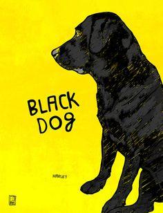Black Dog Art Print.  Love this painting.