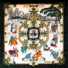 d20857372a9a For Sale at Carre de Paris - Joies d Hiver Hermes Silk Scarf w Black  Border. Luxurious silk Jacquard makes this a lovely winter themed Hermes  carre.