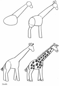 Drawing lessons for beginners - the drawings of a zebra and a giraffe, domestic / How to Draw. Painting and Drawing for Kids Art Drawings For Kids, Drawing For Kids, Animal Drawings, Easy Drawings, Drawing Ideas, Pen Drawings, Drawing Lessons, Art Lessons, Easy Drawing Tutorial