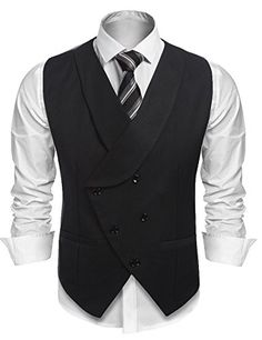 #Coofandy Men's #Plaid #Slim #Fit #Double #Breasted #Dress #Suit #Button Down #Vest #Waistcoat #Coofandy knows men's fashion-and so will you, when you're wearing this #Slim #fit style Shawl Collar vests . Enhance your profile, the vests an essential staple for any man's wardrobe. You can pair this #vest with your favorite sweater, #suit or shirts. Don't miss this amazing opportunity. #Mens bussiness #suit #vest featuring #Plaid Pattern, #double #Breasted (5 #button down) and