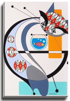 Cat G by Dominic Bourbeau Graphic Art on Wrapped Canvas