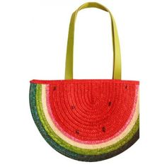LUCLUC Watermelon Shape Straw Tote Bag ($23) ❤ liked on Polyvore featuring bags, handbags, straw purse, red tote bag, straw bags, red tote purse and red tote handbag