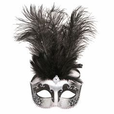 This black feather masquerade mask is just like the masks from Fifty Shades Darker. The black masquerade mask is perfect for a masquerade ball. Wear this black mask at your Fifty Shades of Grey masquerade party. The sparkling detail of this mask is in silver and looks great with just about any masquerade outfit. A great mask for anyone these black feathered half mask is definitely an attention getter.