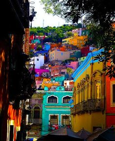Guanajuato, Mexico. I love the architecture and color! I want to visit a place like this before I die.