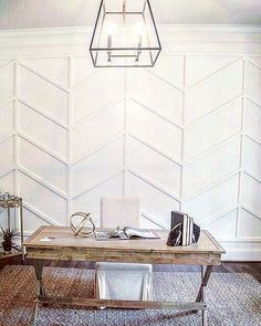 This herringbone wall treatment would be beautiful accent in any office or dining room! Curated by wall treatment Home Office Design, Home Office Decor, Home Renovation, Home Remodeling, Herringbone Wall, Colorado, Interior Minimalista, Natural Home Decor, Classic House