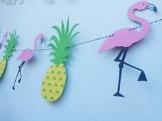 Flamingo And Pineapple PARTY Fun Birthday - Anniversary - Bridal Shower - Photoshoot prop - 8 feet long Banner Pool Party Decorations by EMTsweeetie on Etsy https://www.etsy.com/listing/228189066/flamingo-and-pineapple-party-fun